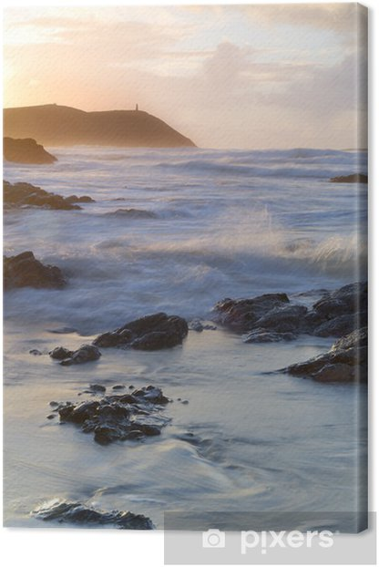 Cornwall Sunset Seascape, Polzeath, UK. Canvas Print - Themes