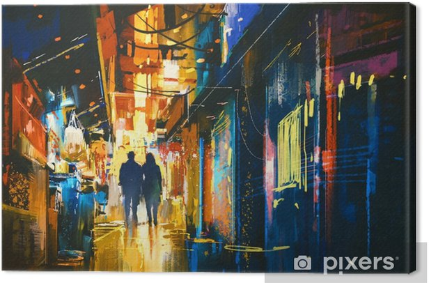 couple walking in alley with colorful lights,digital painting Canvas Print - Landscapes