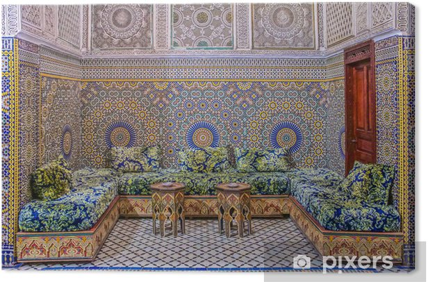 Courtyard decorated with mosaic and carvings in a Moroccan riad Canvas Print - Other