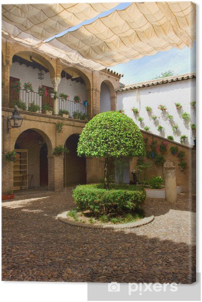 Courtyard of Cordoba, Andalusia, Spain Canvas Print - Monuments