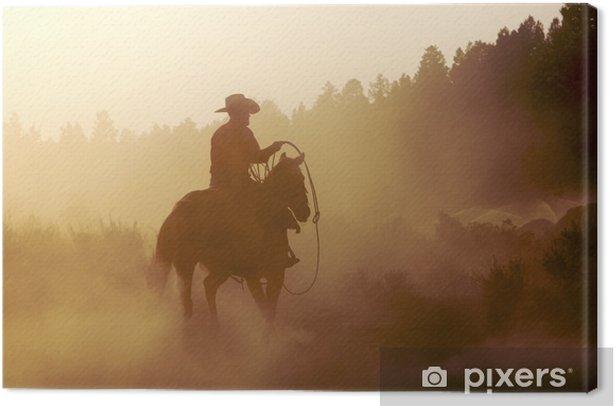 cowboy in the desert Canvas Print - Mammals