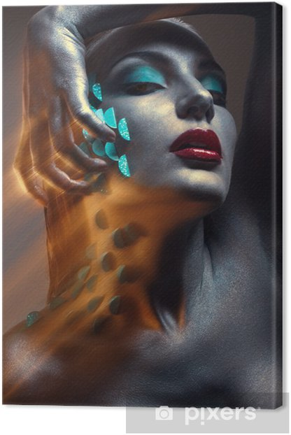 Creative beauty portrait with cyan squama Canvas Print - Themes