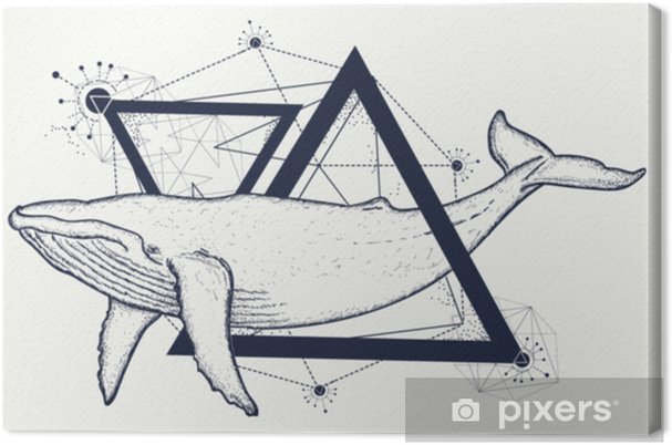 3b46aecc2 Creative geometric whale tattoo art t-shirt print design poster textile.  Whale tattoo geometric style. Mystical symbol of adventure, dreams.