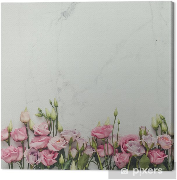 Creative natural composition made of flowers and leaves on marble background. Flat lay. Love concept. Canvas Print - Graphic Resources