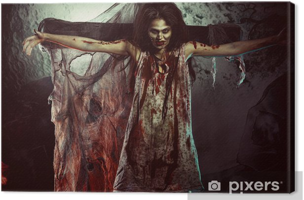 creepy woman Canvas Print - Themes