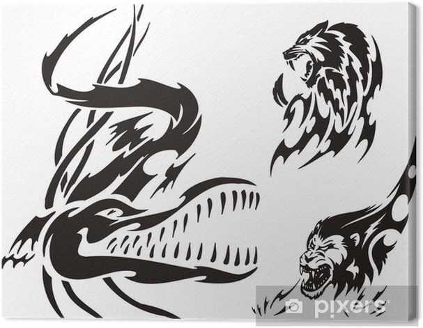 7bf92df7da9a5 Crocodile, lion and panther. Tribal predators. Canvas Print • Pixers ...