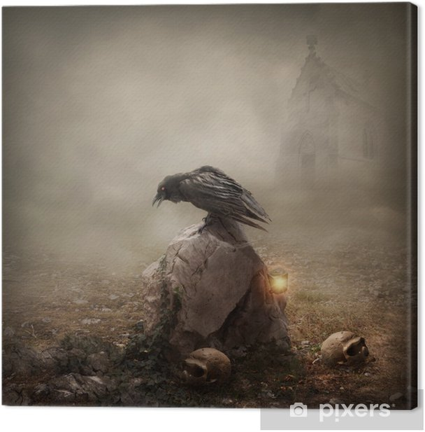 Crow sitting on a gravestone Canvas Print - Imaginary Animals