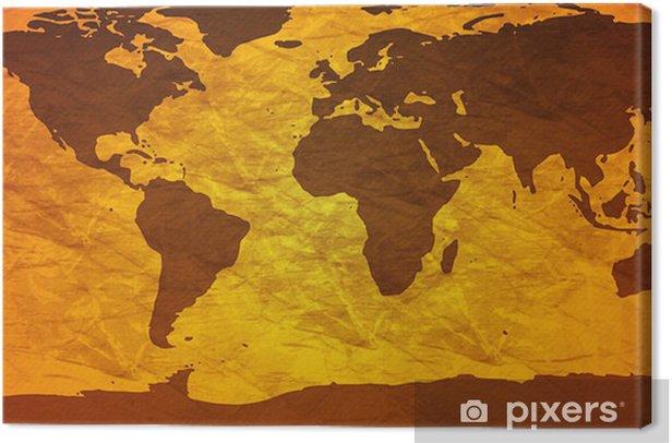 crumpled world map Canvas Print - Themes