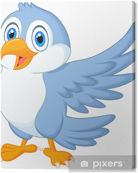 Cute blue bird cartoon waving Canvas Print - Birds
