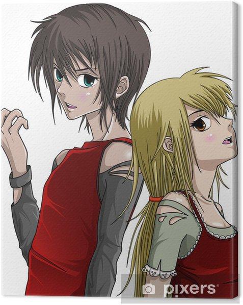 Cute Boy and Girl - Anime Style Canvas Print - Themes