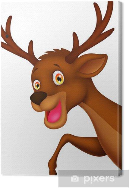 Weihnachtsbilder Comic.Cute Cartoon Deer Waving Canvas Print