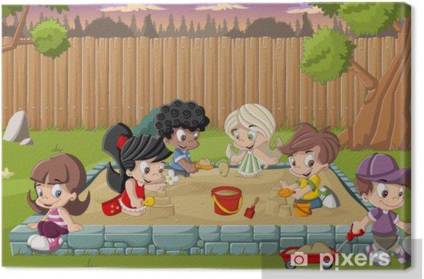 Cute happy cartoon kids playing in sandbox on the backyard Canvas Print -
