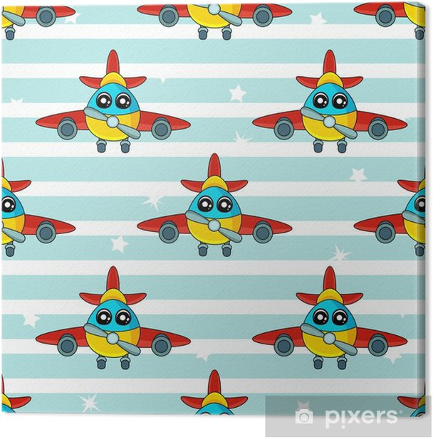 Cute Kids Pattern For Girls And Boys Colorful Aircraft On The