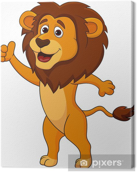 Cute lion cartoon thumb up Canvas Print - Wall decals