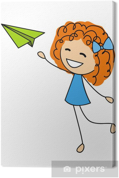 Cute Little Girl With Paper Airplane Canvas Print Pixers We Live To Change