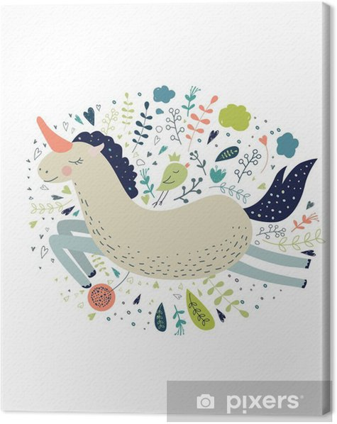 Cute magic collection with unicorn, rainbow, fairy wings. Dream Canvas Print - Animals