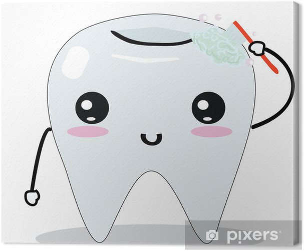 Cute tooth Canvas Print - Health and Medicine