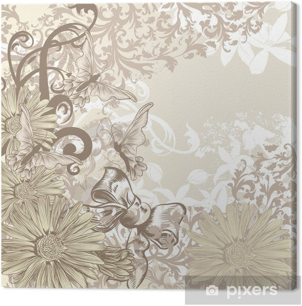 Cute Wedding Background In Floral Vintage Style For Design Canvas Print