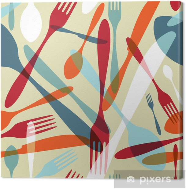 Cutlery transparent silhouette pattern background Canvas Print - Themes