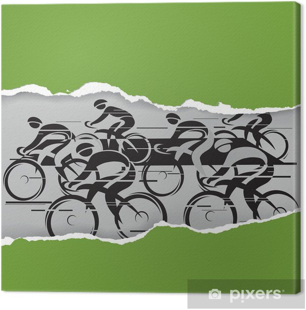 Cycle race in the grunge frame Canvas Print - Individual Sports