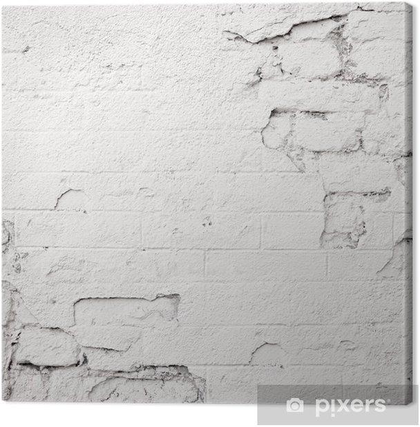 damaged white brick wall Canvas Print - Themes