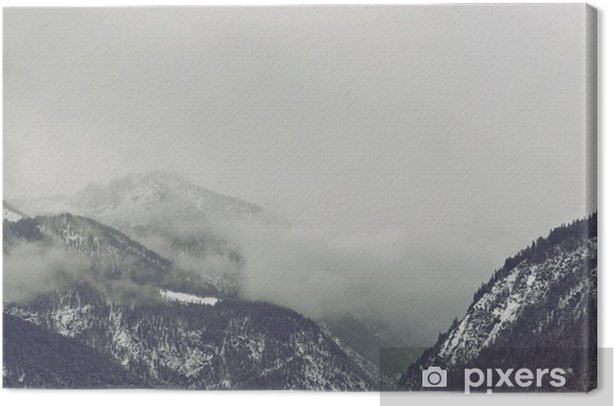 Dark clouds looming over mountain Canvas Print - Landscapes
