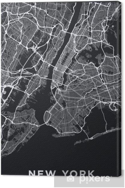 Dark New York City map. Road map of New York (United States). Black and  white (dark) illustration of new york streets. Transport network of the Big  ...