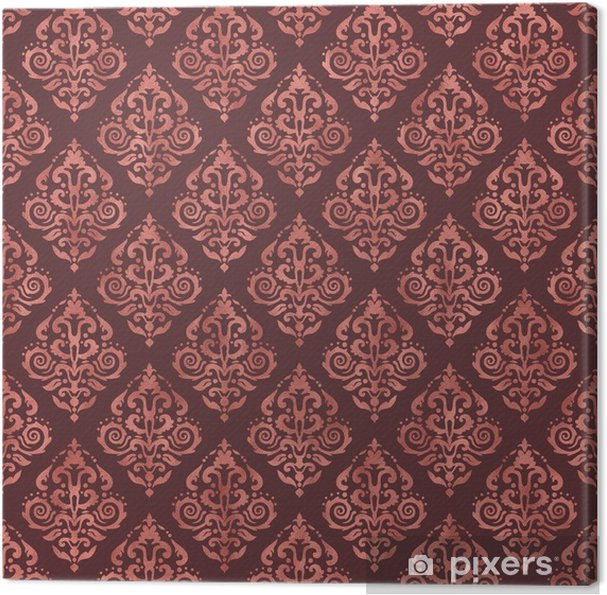 Dark Pink Damask Pattern with Rose Gold Foil Texture Canvas Print