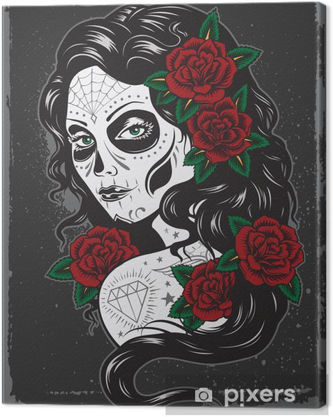 Day of dead girl tattoo illustration Canvas Print - Styles
