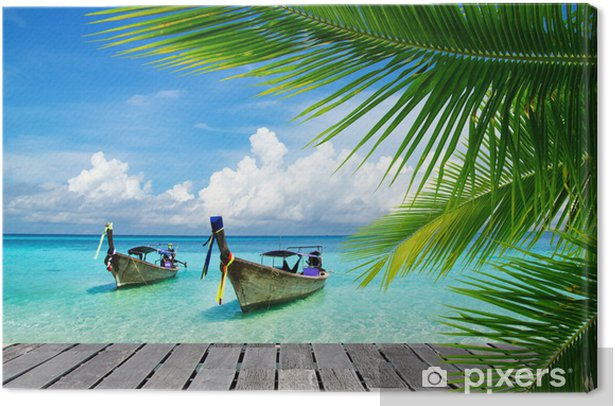 Deck with a view of a tropical sea Canvas Print - Bestsellers