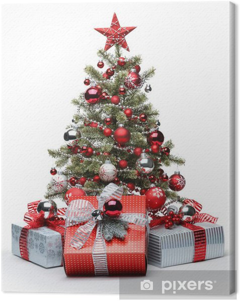 Decorated Christmas tree and gifts Canvas Print - Christmas