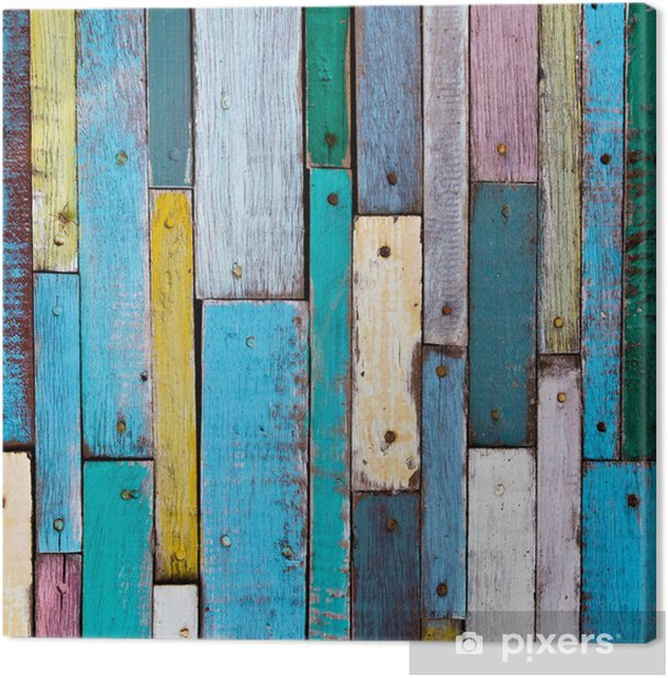 Decorative and colorful wood planks Canvas Print -