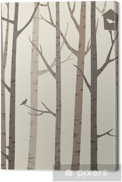 decorative silhouettes of trees with a bird and birdhouse Canvas Print - Plants and Flowers