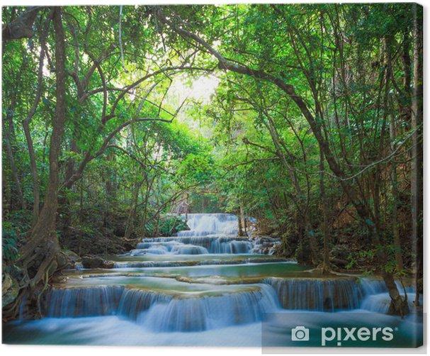 Deep forest Waterfall in Kanchanaburi, Thailand Canvas Print - Themes