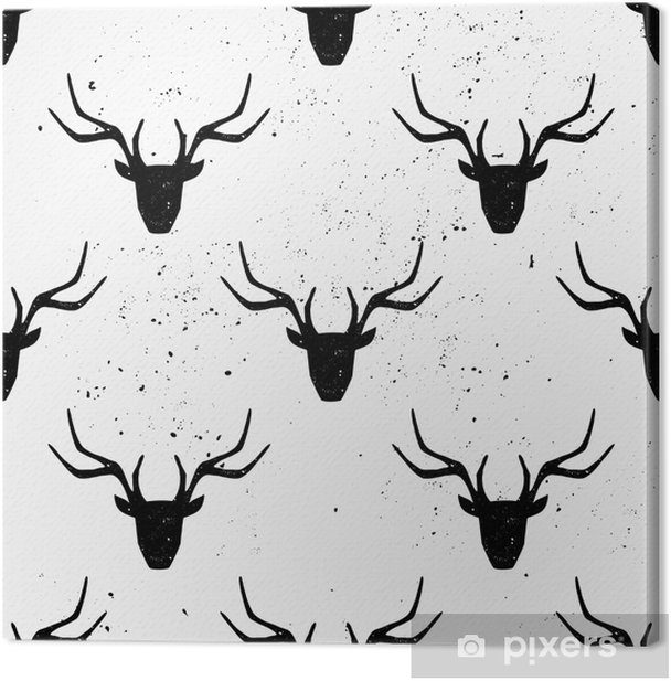 Deer Head Silhouette Seamless Pattern Canvas Print - Backgrounds