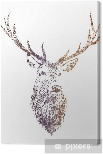 deer head, vector Canvas Print - Lifestyle
