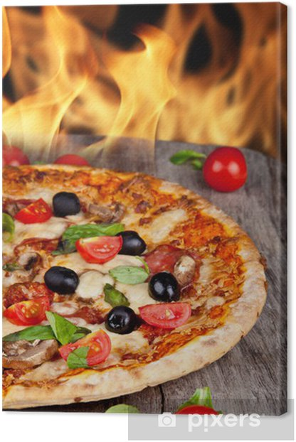 Delicious italian pizza served on wooden table Canvas Print - Meals