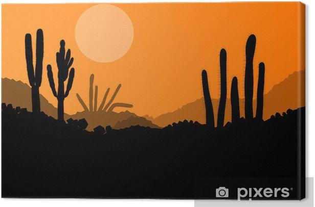 Desert cactus plants wild nature landscape illustration backgrou Canvas Print - Other Feelings