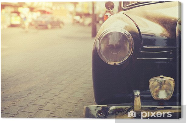 Detail of headlight lamp classic car parked in urban - vintage filter effect style Canvas Print - Transport