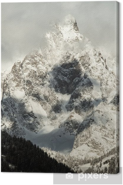 detail of Massif Mont Blanc view from courmayeur Canvas Print - Seasons