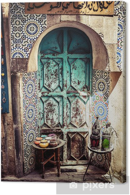 Detail of the beautiful tile mosaic decoration,Fez,Morocco Canvas Print - Africa