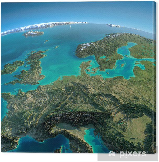 Detailed Earth. Central Europe Canvas Print - Earth