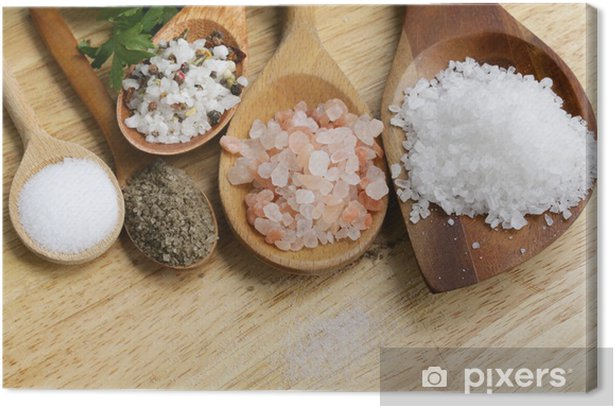 different types of salt (pink, sea, black, and with spices) Canvas Print - Themes