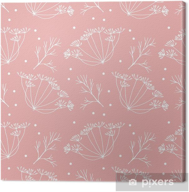 Dill or fennel flowers and leaves pattern. Canvas Print - Plants and Flowers