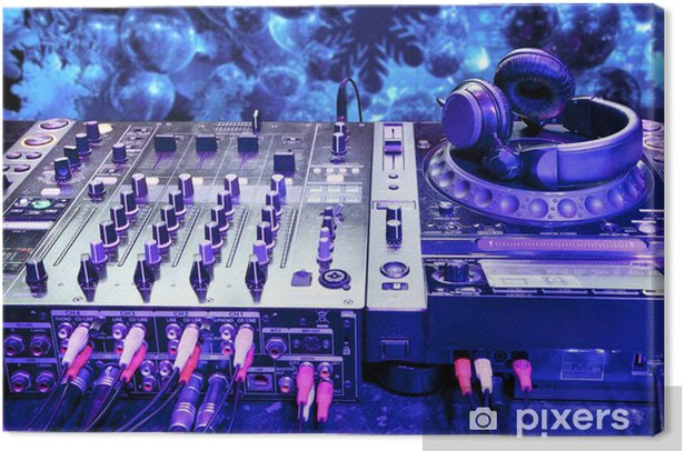 Dj mixer with headphones Canvas Print - Music