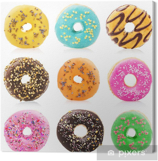 Donuts isolated on white background Canvas Print - Meals
