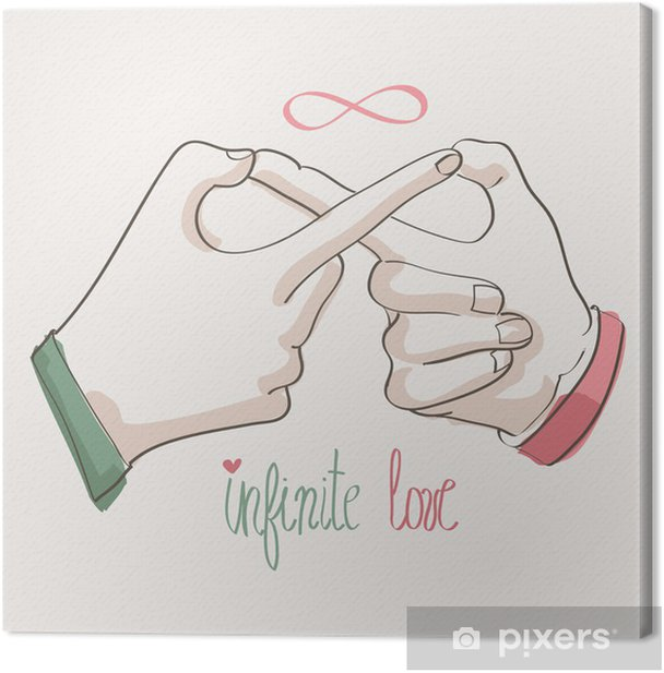 Doodle hands making infinity symbol. Infinite love. Canvas Print - Body Parts