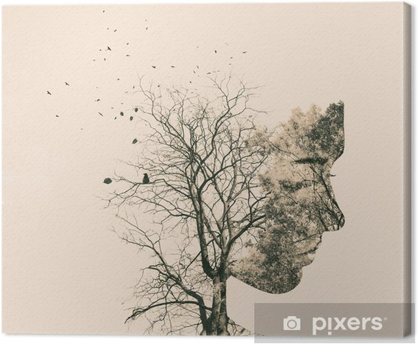 Double exposure portrait of young woman and autumn trees. Canvas Print - People