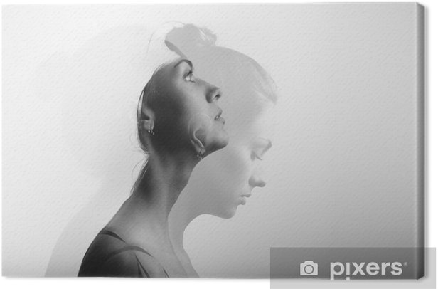 Double exposure with young and beautiful girl, monochrome Canvas Print - People