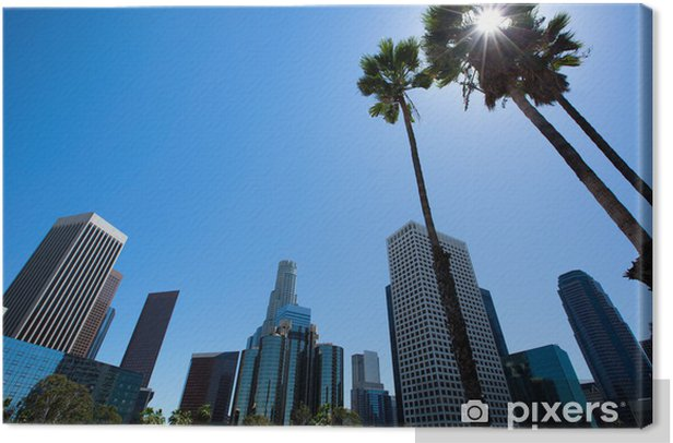 Downtown LA Los Angeles skyline California from 110 fwy Canvas Print - Themes